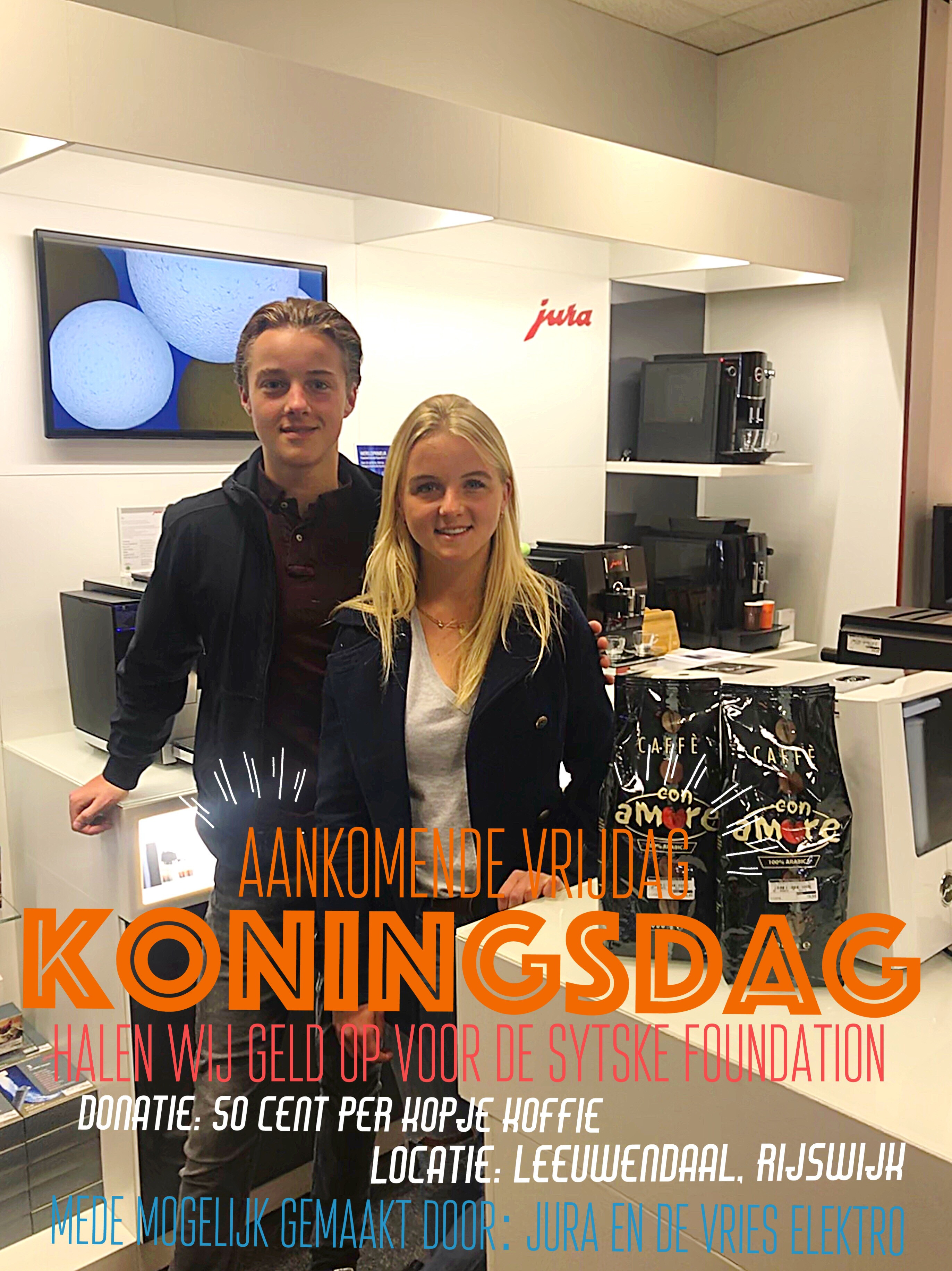 Serving Coffee on 'Koningsdag' for Sytske and fellow sufferers: Proceeds: € 700! Bas and Sacha Thank You!